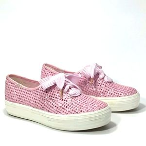 Keds Triple CVO PINK Sparkle Grid Sneakers 6